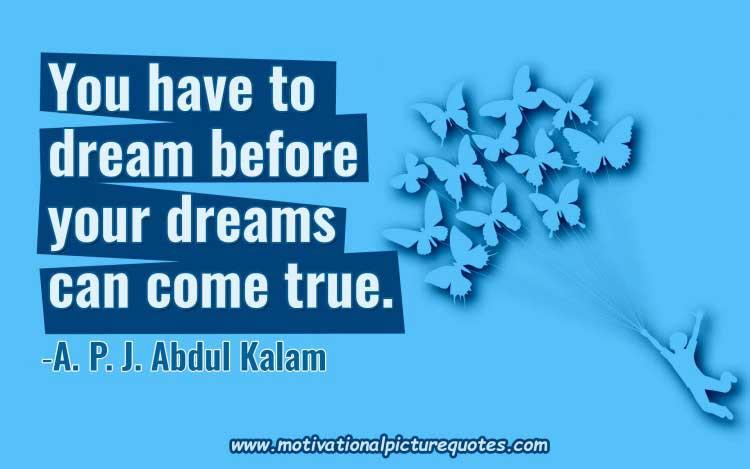 dream big quote by abdul kalam