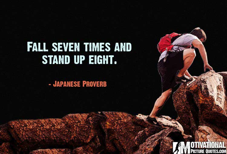 Japanese Proverb on perseverance