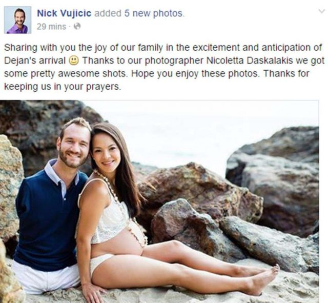 nick vujicic and kanae miyahara on beach